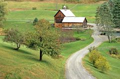 Farm in Fall Woodstock VT. Farm, driveway and barn landscape in Fall, Woodstock Vermont stock photos