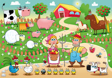 Farm Family. Funny cartoon and vector illustration royalty free illustration
