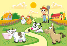 Farm Family with background. Funny cartoon and  illustration Stock Image