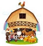 A farm with farm animals royalty free illustration