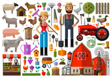 Farm, farmhouse, farmyard vector logo design Stock Image