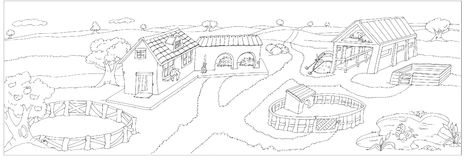Farm with farmhouse, lake, apple tree, horse stable, barn,chine drawn by color. Farm with farmhouse, lake, apple tree, horse stable, barn Stock Image