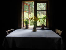 farm, farmhouse, rural, residence, flower, table, home, house, b royalty free stock image