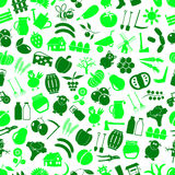 Farm and farming big simple color icons seamless green pattern eps10 Stock Images