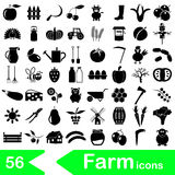 Farm and farming big simple icons set vector eps10 Royalty Free Stock Photo
