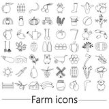 Farm and farming big simple outline icons set vector eps10 Stock Images