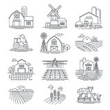 Farm and farming fields linear vector icons  on white background. Farming and agriculture life concept. Harvester tractors and village buildings. Thin black Royalty Free Stock Photo