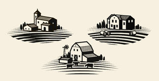 Farm, farming label set. Agriculture, agribusiness, farmhouse icon or logo. Vector illustration. Farm, farming label set. Agriculture, agribusiness farmhouse Royalty Free Stock Images
