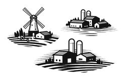 Farm, farming label set. Farmhouse, windmill, agribusiness, agricultural industry icon or logo. Vector illustration Royalty Free Stock Photography