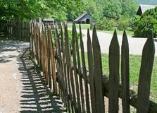 Farm fence and building Stock Image