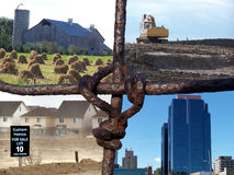 Farm fence collage. Collage framed by wire fence illustrating transition from rural to urban royalty free stock photos