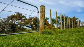 Farm fence with gate in a rural area Stock Image