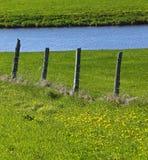 Farm Fence Pond Royalty Free Stock Photos