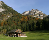 Farm Field in The Alps royalty free stock photography
