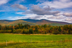 Farm field and autumn color in the White Mountains near Jefferso Royalty Free Stock Images