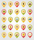 Farm Field flat mapping pin icon with long shadow Stock Image