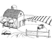 Farm field graphic art black white landscape illustration. Vector Royalty Free Stock Image