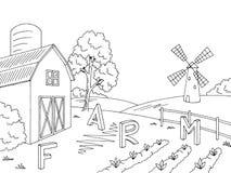 Farm field graphic black white landscape sketch illustration vector. Farm field graphic black white landscape sketch illustration Royalty Free Stock Image