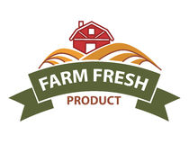 Farm field icon and ribbon for product store. Farm harvest field and farmer house vector logo ribbon for agriculture products label, bread bakery, vegetable or Royalty Free Stock Image