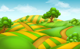 Farm field landscape. vector background Stock Photo
