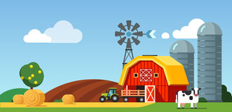 Farm field and meadow scenery, cow and tractor. Farm arable field and meadow scenery, cow standing near barn, grain silos, wind generator and tractor with Stock Image