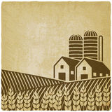 Farm in field old background. Vector illustration - eps 10 Stock Image