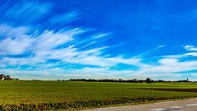 Farm field beside a road on a wonderful sunny winter day. With an impressive blue sky and white clouds in linear shape in Beek, south Limburg in the Netherlands stock image