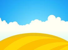 Farm Field of Wheat in Sunny day. Vector Landscape Illustration Royalty Free Stock Image