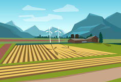 Farm Field With Wind Turbine Alternative Energy Stock Photography