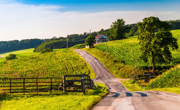 Farm fields along a country road in rural York County, Pennsylva Royalty Free Stock Photography