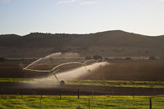 Farm fields being irrigated or watered Royalty Free Stock Photography