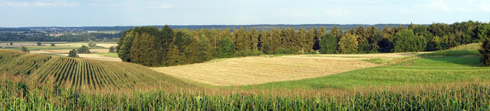 Farm fields and forest stock photo