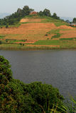 Farm Fields on a Hill. A farm with planted fields on an island hill in Lake Bunyoni, Uganda stock photography