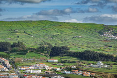 Farm fields with houses in the Terceira island in Azores Royalty Free Stock Photos