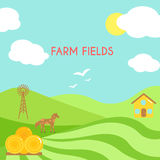 Farm fields landscape. Cartoon green field of sowing. Royalty Free Stock Images