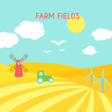 Farm fields landscape. Cartoon green field of sowing. Stock Images