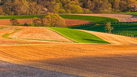 Farm fields and rolling hills of Southern York County, Pennsylvania. royalty free stock photography