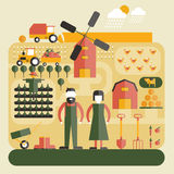 Farm Flat Concept Stock Image