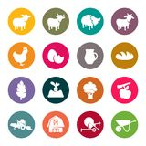 Farm flat icon set Stock Images