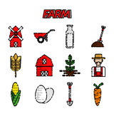 Farm flat icons set. Vector illustration, EPS 10 Royalty Free Stock Photo