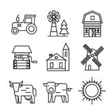 Farm flat icons. Vector black farm flat icons on white Stock Image