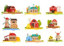 Farm Flat Scenery Collection. Farm flat collection with doodle style scenery images of mill facilities haymows warehouse and agrimotors vector illustration Stock Images