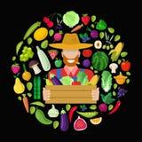 Farm flat shop vector concept: farmer with food harvest Royalty Free Stock Photos