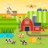 Farm flat vector landscape. Organic food concept for any design. Farm landscape illustration, banner, background with. Farm flat vector landscape. Organic food Royalty Free Stock Images