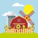 Farm flat vector set. Farmland flat vector illustration. Color farm elements on color background.  agriculture farm house, farm food, farm object Royalty Free Stock Photos