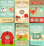 Farm Food and Agriculture Posters Set Royalty Free Stock Photo