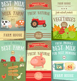 Farm Food and Agriculture Posters Set Stock Photos