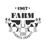 Farm food farming product estd 1967 logo. Black and white retro vector Illustration Royalty Free Stock Image
