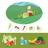 Farm and food grown on it. Natural products grown on their farm. Healthy food. Vector illustration Stock Image