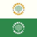 Farm food market emblem set with tree color line style for healt Royalty Free Stock Photos